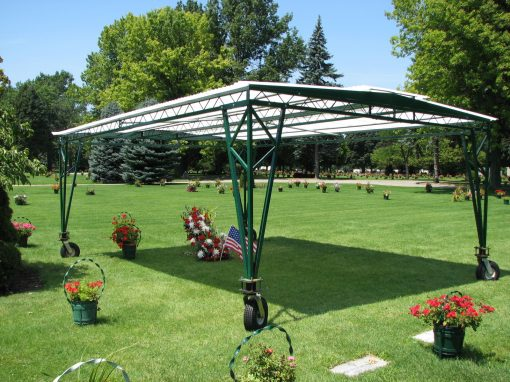 rolling cemetery tent