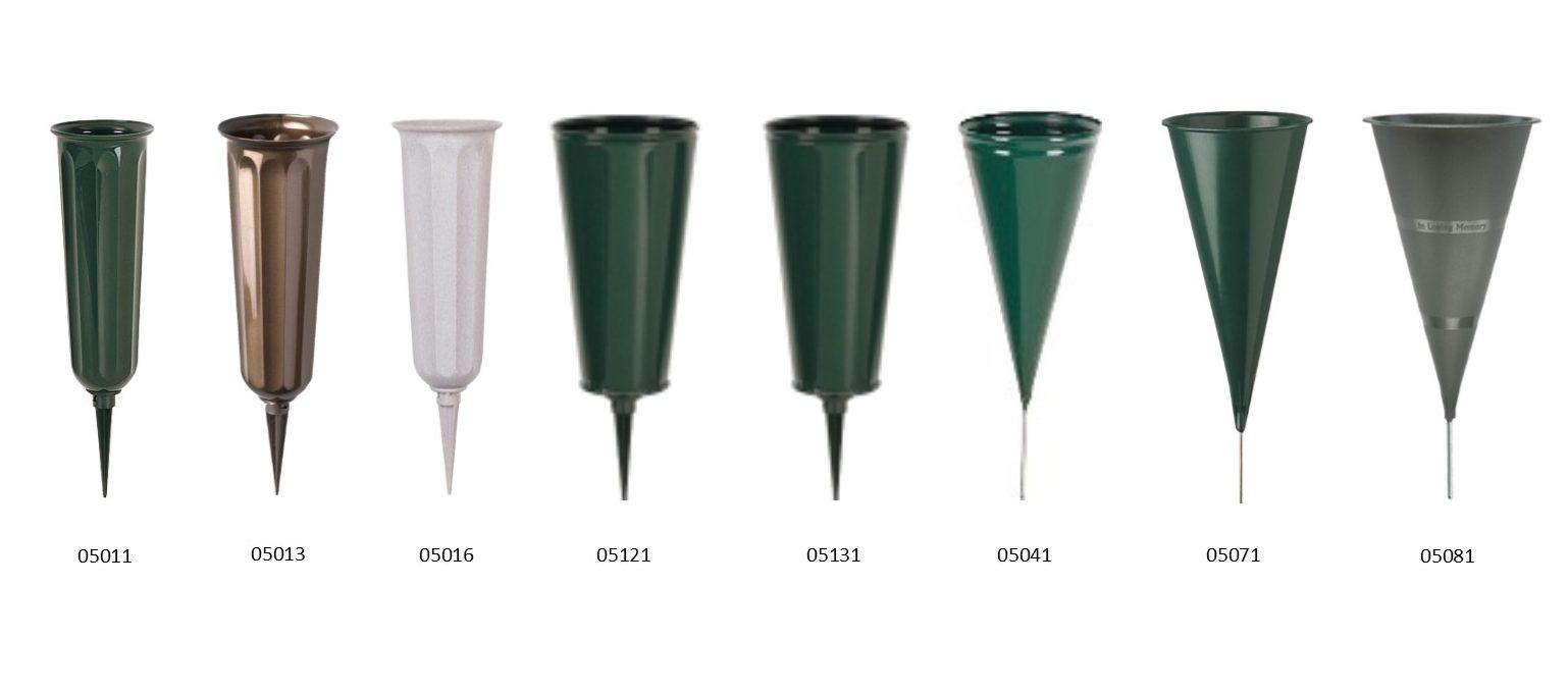 "Plastic Cemetary Vase 7/""-7/"" Cone 3/"" Stake"